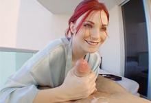 Krásna červernovláska Nessa natočí handjob na terase (HD porno)