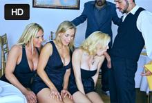 Tri zrelé paničky sa pohrajú s penisom mladého čašníka (Tyler Faith, Holly Sampson a Tanya Tate)